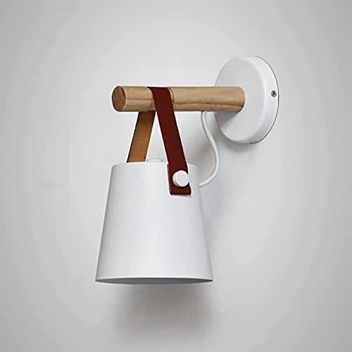 FGDFGDG Lámpara de Pared de Madera de la suspensión de Cuero nórdico Lámpara de Pared Noche Moderna Dormitorio Estudio Sala de Estar Luz de Oficina E27 Lámpara de Pared Blanco