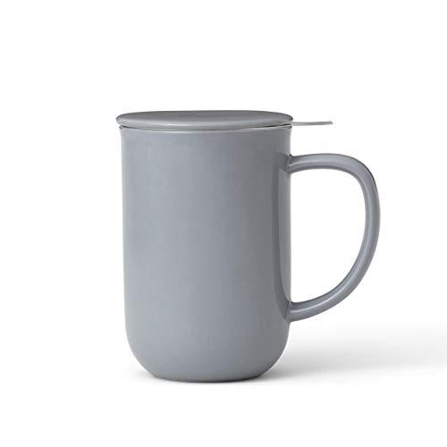 Viva Scandinavia Tasse à thé en Porcelaine avec infuseur Amovible en Acier Inoxydable, thé en Vrac, thé à Feuilles poignée Isolante, 0.5 L, Bleu-Gris