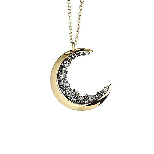 Dainty Jewelry Gold Crescent Moon Necklace Black Diamond Necklace Graduation Gift Gift for Her Celestial Halloween Jewelry Anniversary - ZCMN