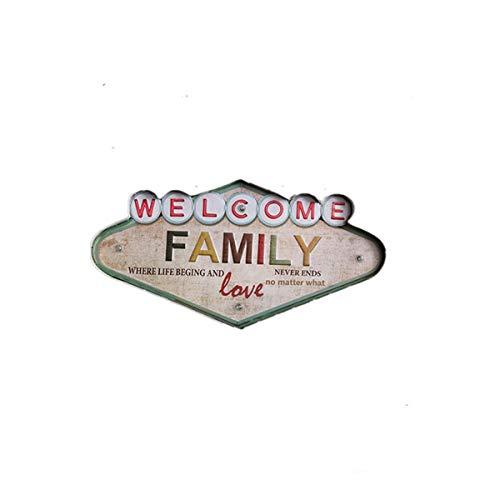 JIAGU Signo de Publicidad País Retro Hierro labrado led lámpara decoración de Pared Letra Familia Pared Colgante Personalidad decoración Pintura de Hierro (Color : Multi-Colored, Size : 49x5x25cm)
