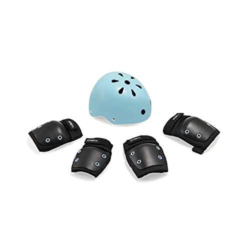Kit de Proteção Infantil com Capacete Cotoveleiras e Joelheiras Capacete M/Kit P Indicado para +7 Anos Preto/Azul Atrio - ES182