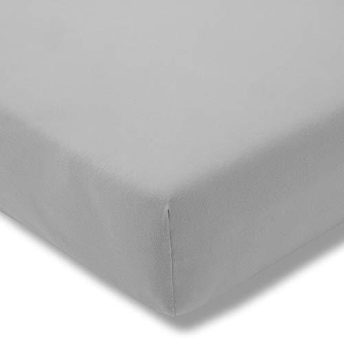 ESTELLA Spannbetttuch Zwirnjersey | Platin | 150x200 cm | passend für Matratzen 140-160 cm (Breite) x 200-220 cm (Länge) | trocknerfest und bügelfrei | 97% Baumwolle 3% Elastan