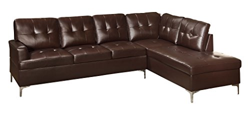 Homelegance Barrington 109' x 108' PU Leather Chaise Sofa, Brown