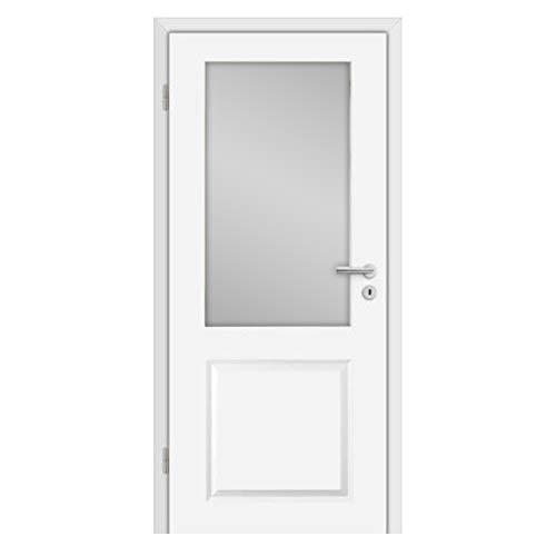 HORI® Zimmertür Komplettset mit Lichtausschnitt I Weißlack Innentür mit Zarge I Modell Estella 2 I Türbreite 735 mm I Wandstärke 220 mm