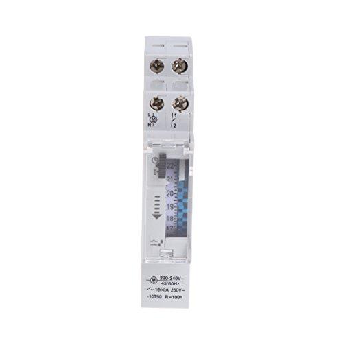 Runrain - Temporizador mecánico de 24 horas programable de carril DIN 110-240 V 16 A