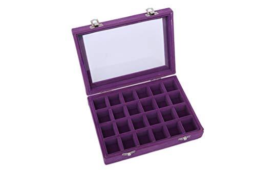 Runsabay Caja joyería cristal terciopelo 24 secciones