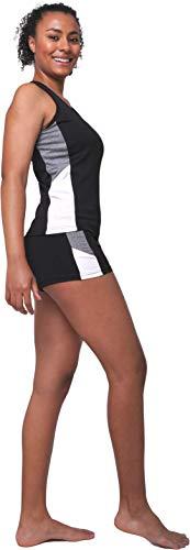 Conjunto Deportivo Labor de Retazos Mujer 2 Piezas 3'' Yoga Shorts de Cintura Alta y Tank Top Racerback Deporte, Negro Gris S-M