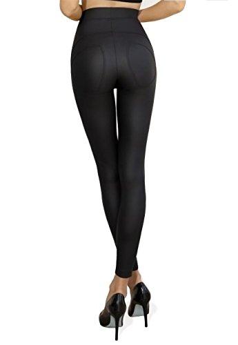 Gatta Leggings (4684S) - blickdichte Damen Leggings in Lederoptik - Designed & Made in EU - Größe L - Black