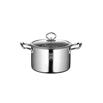 Tongboshi 304 Stainless Steel Soup Pot, Thickened Bottom Plate, Multi-Purpose Soup Pot, All Kinds of Cookers are Universal, Economical and Practical (Color : Silver, Size : 20cm-B)