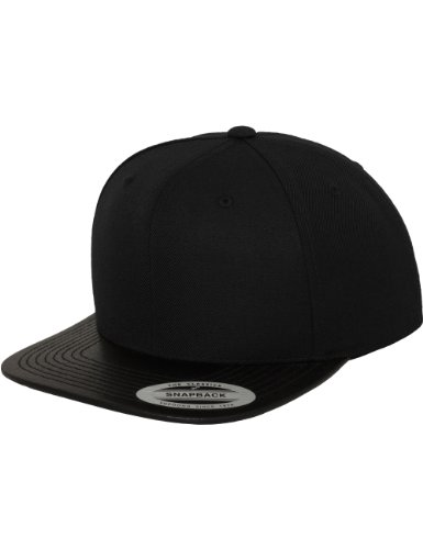 Flexfit Erwachsene Mütze Leather Snapback, Blk, One size, 6089LH