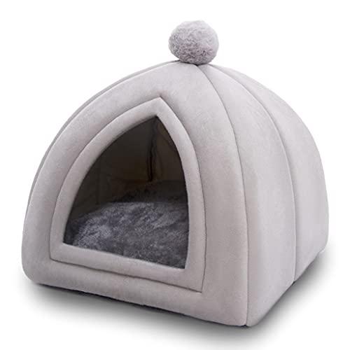 SJYDQ Invierno Cálido para Mascotas Cama para Gatos Casa Suave Plegable Antideslizante Camas para Mascotas Tienda Extraíble Lavable Nido para Gatos Perrera para Perros