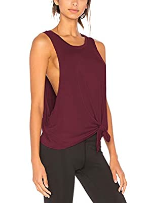 Bestisun Womens Muscle Tank Workout Crop Tops Activewear Yoga Workout Outfits Sport Clothing Running Shirts for Women Wine Red L