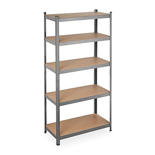 Relaxdays Schwerlastregal, Traglast 875 kg, 5 Ebenen, zum Stecken, Keller, Garage, Stahl, HxBxT: 180 x 90 x 45 cm, grau