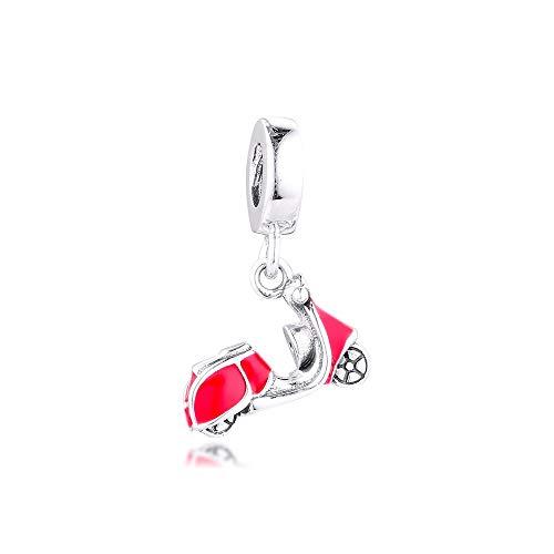 LILANG Pulsera de joyería Pandora 925, dijes de Scooter Rojo Natural, Cuentas de Plata esterlina para Mujeres, Regalo DIY