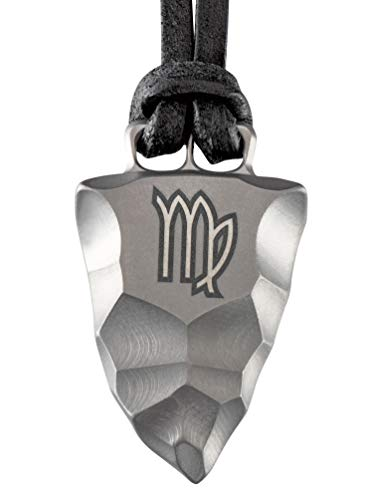 Element of Gods Titan Faustkeil Sternzeichen Jungfrau Amulett aus Reintitan Herrenschmuck Anhänger Lederband (50)