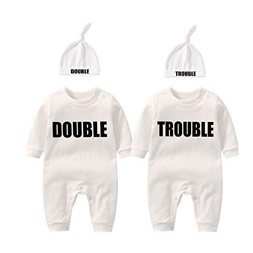 culbutomind Baby Zwillinge Baby Bodys Doppel Ärger süßes Outfit mit Hut Baby Pyjamas Zwillinge Geschenk(Weiß 3M)