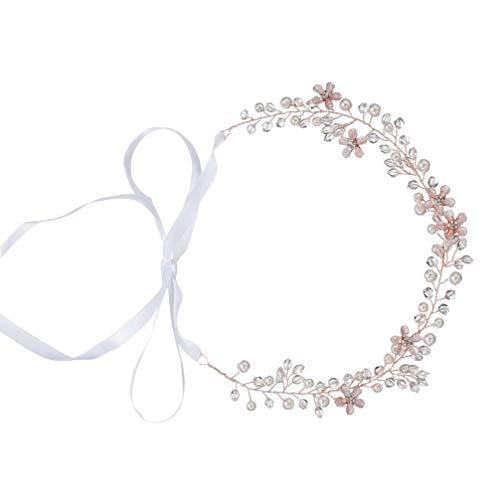 FRCOLOR Accesorios para El Cabello de Perlas Hechos a Mano para Fiesta de Cumpleaños de Boda (Oro Rosa)