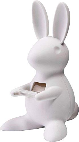 QUALY Desk Bunny QL10114-WH - Dispensador de cinta adhesiva con imán, color blanco