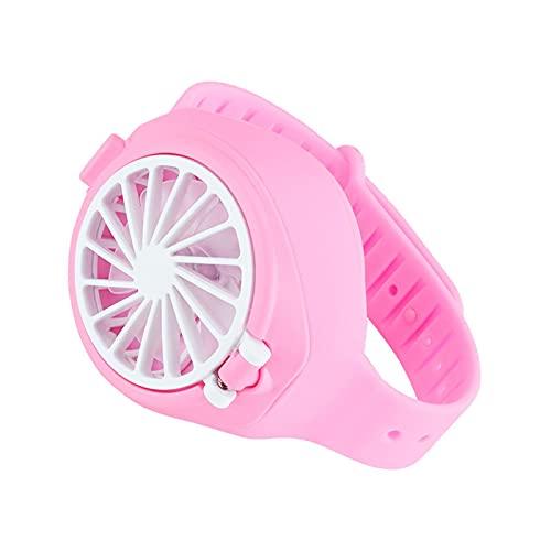 Ventilador pequeño para niños, Ventilador USB portátil, Ventilador Recargable para Estudiantes, Adecuado para jardín, Viajes, Escuela, Verano (Color : Pink)