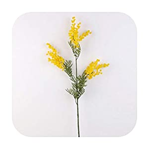 sexy-drunk 86Cm 3 Forks Artificial Acacia Yellow Mimosa Plush Pudica Spray Cherry Fake Silk Flower Wedding Party Decor Red Bean Plant