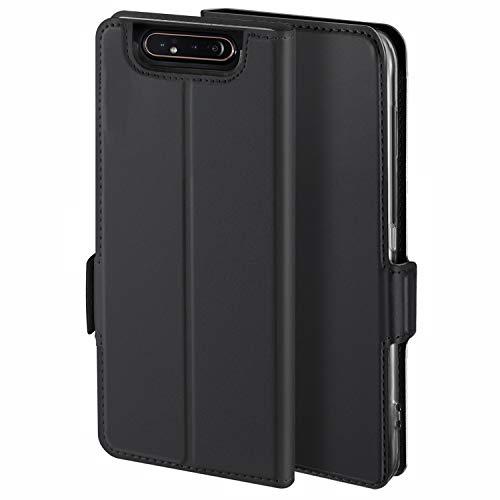 YATWIN Handyhülle für Samsung Galaxy A80 Hülle Premium Leder Flip Hülle Schutzhülle für Samsung Galaxy A80 Tasche, Schwarz