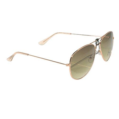 Unbekannt Pilotenbrille Sonnenbrille Fliegerbrille Pornobrille mit Federscharnier NICHT verspiegelt (Klar) (Farngrün Gläser/Rose-Gold Rahmen)