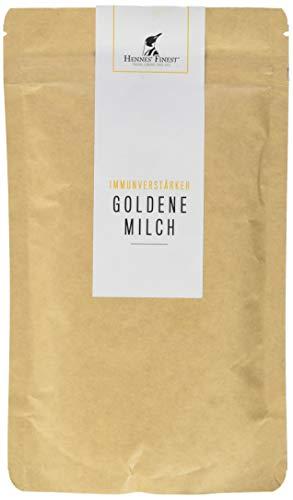 Hennes Finest Goldene Milch Pulver - Curcuma Latte Pulver (Curcuma mit Piperin), Kurkuma Pulver mit weiteren Gewürzen zur Herstellung von Kurkuma Latte (Golden Milk)