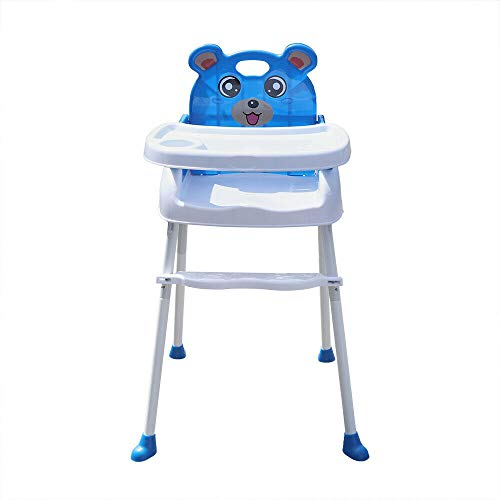 4 in1 Kinderhochstuhl Kinder Verstellbare Treppenhochstuhl Baby hochstuhl Fütterungsstuhl mit Tablett (Blau)