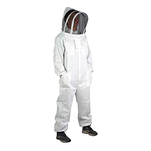 BeesNise Natural Cotton Beekeeping Suit 2X-Large Bee Suit Ventilated Fencing Veil Hood Professional Beekeeper Suit Outfit Total Protection for Backyard Professional and Beginner Beekeepers