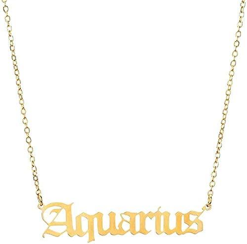 WYDSFWL Collar 12 Constelaciones de Letras del Zodiaco Collar para Mujeres Hombres Virgo Libra Escorpio Sagitario Capricornio Acuario Regalos de cumpleaños