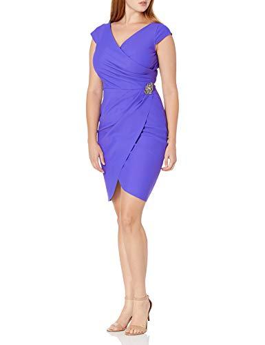 Alex Evenings Women's Slimming Short Sheath Dress with Cap Sleeves, Bright Purple beaded, 14 (Apparel)