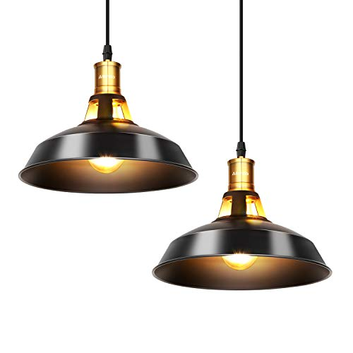 Albrillo Lámparas Colgantes Industriales Vintage - Φ27cm de Bombillas E27, Lámparas Colgantes Clásicas de Metal para Comedor, Barra, Café, Negro, IP20-2Pcs