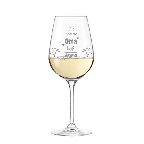 KS Laserdesign Leonardo Weinglas '' die coolste Oma '' personalisiert mit Name - persönliche Gravur, Beste Oma Geschenke, Geburtstag, Weihnachten