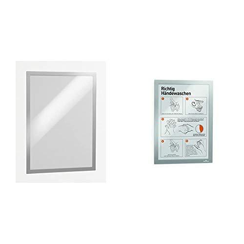 Durable 487323 Marco informativo Duraframe , A3 + Duraframe - Bolsa con 2 marcos autoadhesivos, con panel frontal magnético, tamaño A4, color plata (487223)
