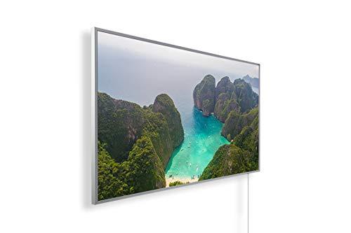 Bildheizung Infrarotheizung mit Digitalthermostat für Steckdose - 5 Jahre Herstellergarantie- Elektroheizung mit Überhitzungsschutz (Bucht in Thailand;1000W)
