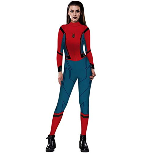 Tsyllyp Women Halloween Costume Adult Sexy 3D Print Suit Bodysuit Catsuits