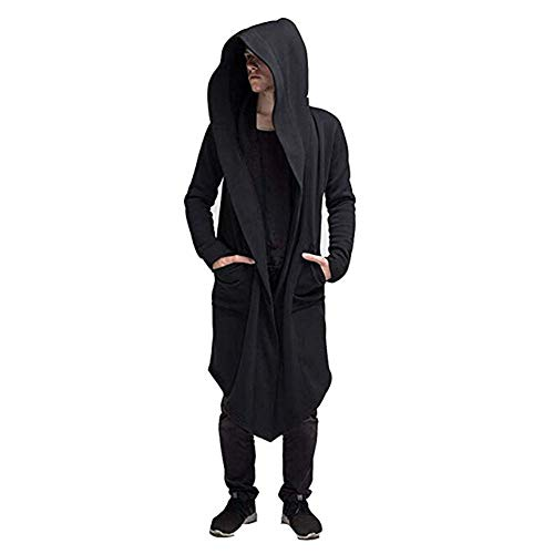 nvIEFE Cardigan Open Jacke Längen Hoodie Pullover Mantel Sweatshirt Herren Oversize Strickjacke Casual Lang Outwear Kapuzenpullover Für Männer Damen (Schwarz, XL)