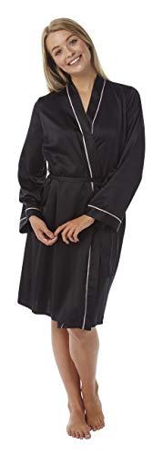 SaneShoppe Albornoz Kimono de Seda para Mujer, Largo y Corto Largo para Todas Las Estaciones Negro Negro (44