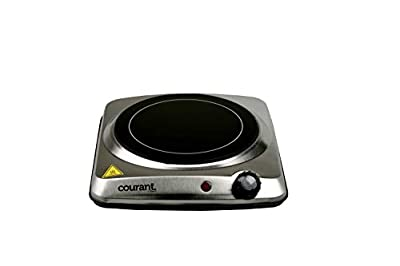 Courant Electric Burner Ceramic Infrared Portable Adjustable Temperature Control 1000W Travel Indoor & Outdoor Electric Stove Countertop burner Non-Slip Rubber Feet Easy to Clean Stainless Steel