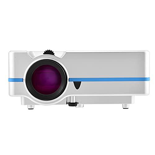 1080P, HD HDMI LED Proyector Reproductor Multimedia EE. UU. Reino Unido Enchufe de la UE Elegante portátil para Cine en casa, Mini proyector Blanco(Enchufe de la UE)