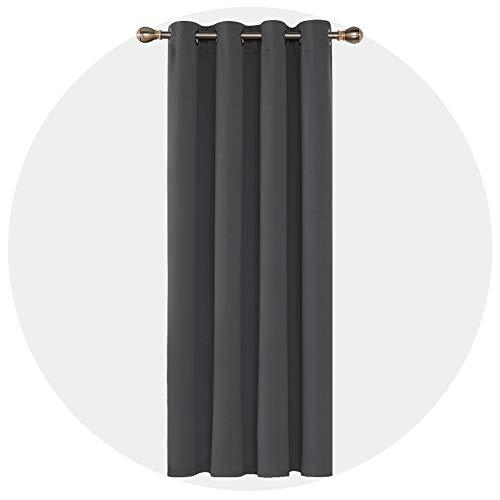 Deconovo Tenda Camera Da Letto Oscurante Termica Con Occhielli Per Casa Moderne Grigio Scuro 140X260 CM Un Pannello