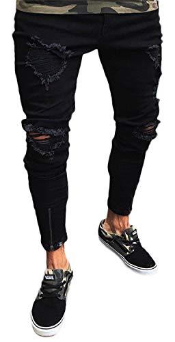 Pizoff Herren Superenge Skinny-Jeans in schwarz mit Rissen an den Knien, Am024, S