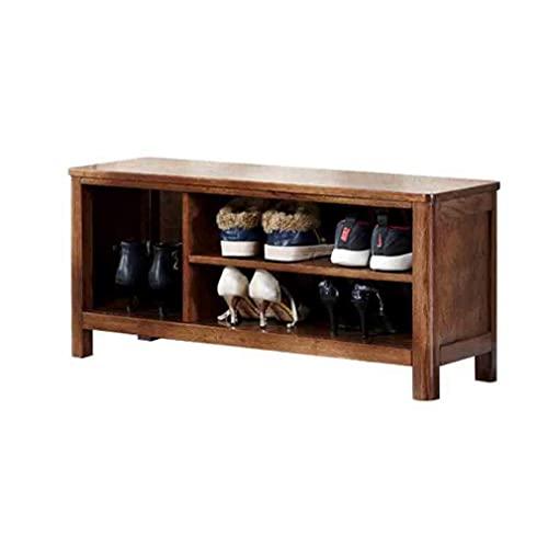 FSYGZJ Banco de Zapatero de Madera Maciza para Entrada Gabinete de Zapatos de Simplicidad Moderna Banco de Zapatos de Cambio de Gran Capacidad (Color: Color Nogal, Tamaño: 80 cm)