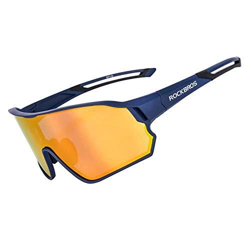 WOXING Ciclismo Gafas,Polarizadas Antideslumbrantes Gafas De Sol,Vintage Miopía Correr Conducir Ciclismo Deportivas,Mujer Hombre Aire Libre Deportes Viajes Esquiando-Deslumbrante 17cm(7inch)