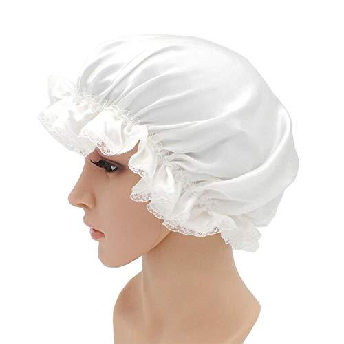 WJH Sleeping Cap pour Les Femmes en Soie Naturelle avec Sommeil Caps Bande élastique pour Cheveux Perte de Sommeil sur la Protection des Cheveux (2 pièces),Blanc