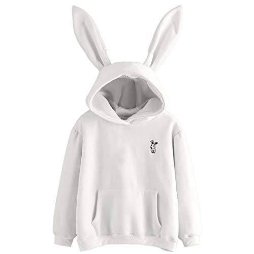 Women Hoodie Long Sleeve Rabbit Hoodie Sweatshirt Bunny Ear Cute Pullover Tops for Autumn Winter New Girls Hoodie Casual Warm Lightweight Pullover with Pocket L