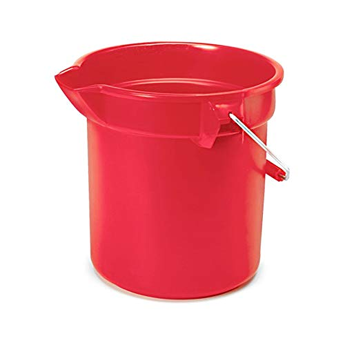 Rubbermaid Commercial 10 Qt Brute Heavy-Duty, Corrosive-Resistant, Round Bucket, Red FG296300RED