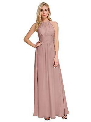 ALICEPUB Keyhole Chiffon Bridesmaid Dresses Dusty Rose Long Formal Party Dress for Women Wedding, US14