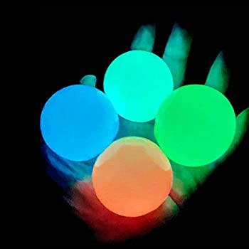 4 Pcs Luminescent Stress Relief Balls Sticky Ball Stick to The Wall and Slowly Fall Off Squishy Glow Stress Relief Toys for Kids and Adults Tear-Resistant Non-Toxic Fun Toy for ADHD OCD Anxiety