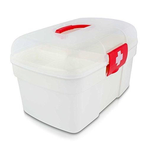 Grinscard Medizinkoffer Tragbar mit Einlegefach - 27 x 18 x 17 cm - Medizinbox Medikamente Aufbewahrung und Transport